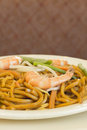 Shrimp lo mein authentic chinese noodles at a restaurant Royalty Free Stock Photo