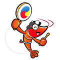 The shrimp mascot playing the traditional music of korea prawn character design series Royalty Free Stock Image