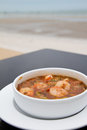 Shrimp and omlet sour and spicy soup Royalty Free Stock Photo