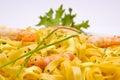 Shrimp pasta dish Royalty Free Stock Photo