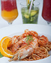 Shrimp and pasta meal Royalty Free Stock Photo