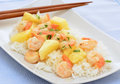 Shrimp and pineapple stirfry on jasmine rice Stock Photography
