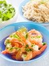 Shrimp with rice Stock Photo