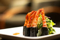 Shrimp roll with lettuce japanese cuisine Stock Photo