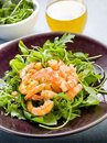 Shrimp salad with arugula Royalty Free Stock Photos