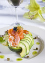 Shrimp salad a la carte appetizer Royalty Free Stock Photo