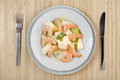 Shrimp salad melon lettuce and mayonnaise Stock Photography