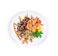 Shrimp salad with mushrooms on a white background Stock Photos