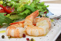Shrimp and salad on plate Stock Photos