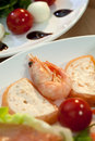 Shrimp & Salmon Mousse & Tomato Mozzarella Salad Stock Images