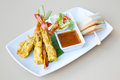 Shrimp satay prawn satay with peanut sauce and sweet sauce Royalty Free Stock Photos