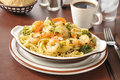 Shrimp scampi a bowl of on linguine Stock Image