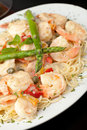 Shrimp scampi with pasta italian style dish spaghetti Stock Images