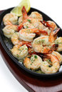 Shrimp scampi sauteed in garlic butter american food Stock Images
