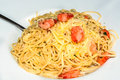 Shrimp Scampi with spaghetti and Olive Oil Royalty Free Stock Photo