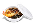 Shrimp soup a bowl of chinese hot sour with crunchy noodles and tempura fried fantail Stock Image