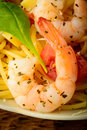Shrimp and spaghetti pasta Royalty Free Stock Photo