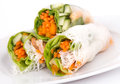 Shrimp spring roll and vegetables Stock Photo