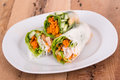 Shrimp spring roll and vegetables Stock Images
