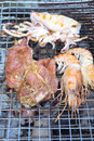 Shrimp, squid, beef seafood grill Royalty Free Stock Photo