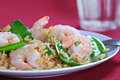 Shrimp Stir Fry Rice with Pea Pod Royalty Free Stock Images