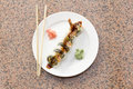Shrimp Tempura Avocado Sushi Roll Royalty Free Stock Photo