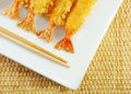 Shrimp Tempura and Chopsticks Royalty Free Stock Photo