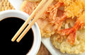 Shrimp Tempura with Chopsticks and Soy Sauce Royalty Free Stock Photos