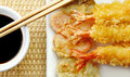 Shrimp Tempura with Chopsticks and Soy Sauce Stock Image