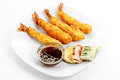 Shrimp tempura, soy sauce with sesame seeds Royalty Free Stock Photo