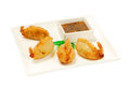 Shrimp tempura sushi traditional japanese with sauce on a white plate Stock Image