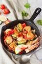 Shrimp and vegetables skillet
