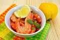 Shrimp in a white bowl with lemon Royalty Free Stock Photo