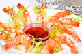 Shrimps beautifully decorated shrimp on white plate Stock Photography