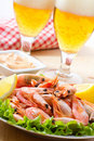 Shrimps and beer Stock Images