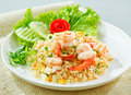 Shrimps fried rice, Thai popular food  Royalty Free Stock Photos