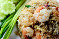 Shrimps fried rice thai special dish with Royalty Free Stock Image