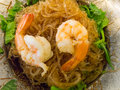 Shrimps with glass noodles very delicious seafood Stock Photos