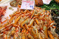 Shrimps on ice at the market fresh Royalty Free Stock Photography