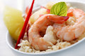 Shrimps with pineapple and rice and pineapple/red Stock Photos