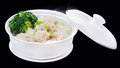 Shrimps wonton soup chinese traditional cuisine isolated on bl black background Stock Photography