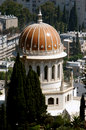 Shrine of the bab as viewed from top carmel mountain in haifa israel Royalty Free Stock Photo