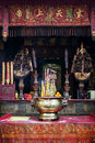 Shrine detail inside chinese a-ma temple in macau china Royalty Free Stock Photo