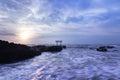 Shrine gateway at sunrise on oarai coast ibaraki japan Royalty Free Stock Photography