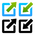 Shrink enlarge or minimize maximize icons eps vector illustration of Stock Images