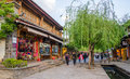 Shuhe Ancient Town is one of the oldest habitats of Lijiang and well-preserved town on the Ancient Tea Route. Yunnan China.