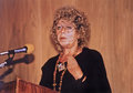 Shulamit aloni as a panelist and speaker at the first international jewish feminist conference in jerusalem israel on december Royalty Free Stock Image