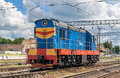 Shunter on a ukrainian station in Stock Image