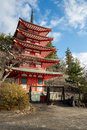 Shureito pagoda fuji mountain japan beautiful in yamanashi city Royalty Free Stock Photos