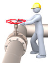 Shut off valve man wearing the yellow helmet while working in oil or gas refinery turning on and the red pipeline Royalty Free Stock Images